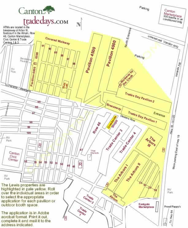 Map of Lewis First Monday Properties Canton Trade Days Map on